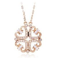 Wholesale 2011 latest style jewelry peach heart crystal necklace magnet flower golden