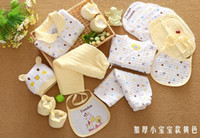 baby clothing gift set box - New arrival new born baby lovely gift box clothing sets baby cotton tops shoes pants hat gloves pieces sets gifts E494