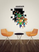 Wholesale 2015 new Minecraft Wall Stickers Creeper Enderman Wallpaper D Decorative Wall Decals Wallpaper Rolls Party Decorations
