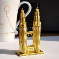 best petronas - Hot D DIY brass puzzles model brass DIY home Decoration assembling building children toys best gifts Petronas Tower