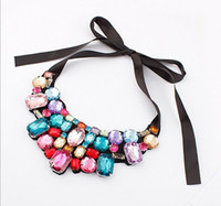 Wholesale 2016 New In Pretty Statement Rhinestone Crystal Black Ribbon Tie Bib Collar Necklace Mix Color