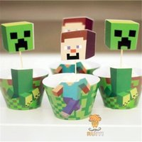 cake supplies - Minecraft Party Decorations Event Cupcake Wrappers Creeper Steve Cup Cake Toppers Picks Kids Birthday Supplies Party Favors