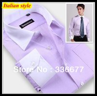 shirts for men italian - Italian luxury hombres de camisa white collar cuff dobby Blue Lilac Dress shirt for men QR