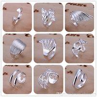 Chapado en plata de ley 925 anillos abiertos ajustables del anillo de bodas compromiso de la vendimia declaración regalos de joyería fina para las mujeres las muchachas del envío libre