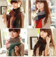 Wholesale Brand colors Winter Women s Cashmere Scarf High quality Fashion Plaid Tassel Shawl Scarves Warm