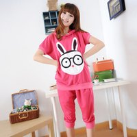 Wholesale autumn and summer women sport set cotton pajamas set sleepwear short sleeve character printed for pregnant woman