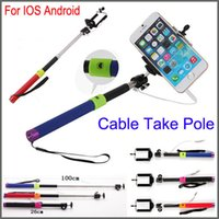 audio timer - Wired Extendable Selfie Stick Monopod mm Audio Cable Take Pole Self timer Handheld Controller For iPhone s s Samsung galaxy S5 NOTE