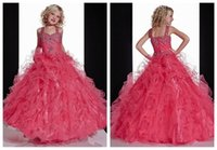 Cheap 2015 Pageant Gowns for Little Girls Spaghetti with Rhinestones Beaded Ruffles Tulle Kids Princess Party Gowns Special Occasion Dresses DH07