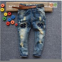 jeans pants - 2015 new spring pant denim jeans boy jeans with belt kids personality jeans