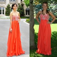 flowing prom gowns - 2014 Fall Orange Long Prom Dresses Beaded Sweetheart Lace up A Line Floor length Flowing Chiffon Party Gown Formal Dress Spring