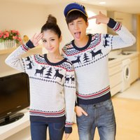 Wholesale High Quality Fashion Winter Clothing Long Sleeve Crewnecks Cashmere Pullovers Animal Deer Pattern Couple Christmas Knitted Sweaters