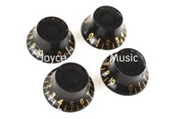 Cheap 1 Set of 4pcs Black Hat Golden Font Electric Guitar Knobs For SG Style Electric Guitar Free Shipping Wholesales