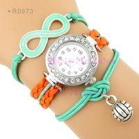 Wholesale Infinity Love Volleyball Watches Wrap Bracelet Sport Watches Leather Wax Wrist Watche Wristwatches Women Fashion Lady Men Watche Gift Custom