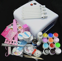 al por mayor esmalte de gel 12-Profesional conjunto completo de 12 colores Kit de gel UV Set de uñas de pincel Set + 36W Curar kit de lámpara UV Secador de pulir Curining Manicure Tools