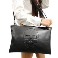 Cheap NewStyle Punk Skull Face Designer Free Ship Simple Fashion Leather Handbag Skull Decorated Lady Clutch Purse Wallet Evening Bag