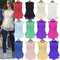 Wholesale New Women Lace Blouses Sexy Plus Size Crochet Chiffon Tank Tops Women Chiffon Sleeveless Shirts women Fashion Tees Women Tanks S XL M