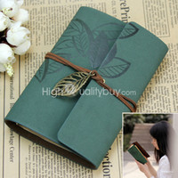 Wholesale Practical PU Leather Cover Retro Travel Planner Notebook Loose leaf Dark Green
