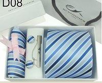 Wholesale Hot Silk Men s Ties Formal Necktie Cravat Handkerchief Cufflinks Men Tie Clip Handkerchief Set