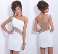 Wholesale 2016 Crystal Short Cocktail Dresses Sparkly One Shoulder Sheer Illusion See Through Back Homecoming Gowns Sheath Short Prom Dress CPS207