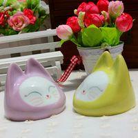 Wholesale Jingdezhen handmade ceramic cat portable stereo portable makeup mirror mirror sweet birthday gift creative crafts