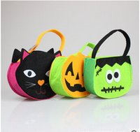 Plait halloween bag - 2014 colors halloween pumpkin hot selling owl baskets Halloween carnival bag festival gifts bags non woven DIY crafts TOPB527