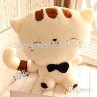 achat en gros de peluche chat souriant-45cm chat en peluche chanceux, grande poupée sourire visage de minou, peluche de chat, cadeau d'anniversaire l'obtention du diplôme pour les enfants, la livraison gratuite 1pc