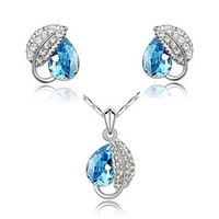 Wholesale Elegant crystal necklace earrings Sets Noble Gorgeous Fashion Crystal Jewelry Sets For Women Jewelry set