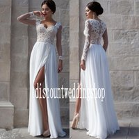 Wholesale Color Sheath Dress - Fantastic White Sheath Wedding Dresses Long sleeve Chiffon Split Court Train Bridal Wedding Gowns Custom Made A:11