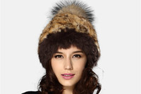 Wholesale new design russian cheap real rabbit fur bobble hats for women