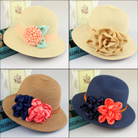 fashion straw hat - Ladies Women Candy Floral Hats Wide Brim Summer Beach Sun Straw Derby Fedora Flower Hats Caps