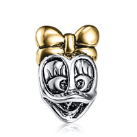 silver flats - New Sterling Silver Charm Bead Mickey Gold Plated European Charms Fit Bracelet Snake Chain Women Jewelry