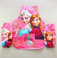 Wholesale children apron with raglan sleeves cartoon apron with raglan sleeves for children drawing playing
