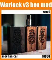 18650 Copper Pin Warlock box mod Warlock V3 Wooden Box Mod Dual 18650 Battery Mechanical Wood Mod Low Resistance Copper Contact 510 Thread Vapor Mod DHL Free TZ529