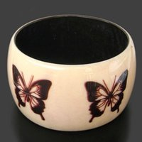 beautiful indian paintings - Tibetan Jewelry Indian handmade beautiful butterfly painting resin bangle cuff from India