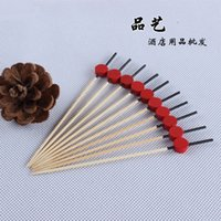 Cheap Wholesale-fruit tooth pick free shipping postage creative red round fruit fork fruit toothpicks barbecue Toothpick bamboo cocktail