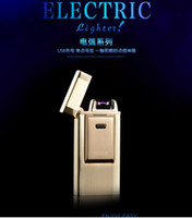 novelty lighters - New Upscale USB Lighter Rechargeable Flameless Electric Arc Windproof Cigar Cigarette Novelty Lighter Portable can be Taken Into Plane