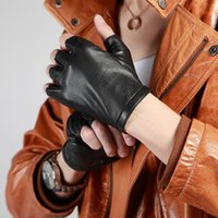 Wholesale YINGSANME Fashion Genuine Leather gloves man goat skin leather gloves motorcycle car BlACK half gloves B05