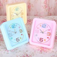 Wholesale Manufacturers supply colorful candy colored children creative clock color words bedside clock alarm clock wake up lazy square