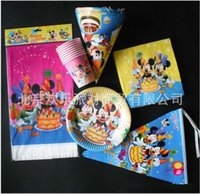 Wholesale 2015 AAA quality Mickey mcqueen car pooh kid birthday party cups hat dish towel table cloth cap plate loot flag party suit TOPB1937 set
