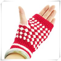Wholesale Newly Design Warm Cute Girls Knitting Warm Mittens Half Fingerless Gloves June9