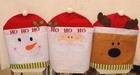 Wholesale 100pcs Santa Clause Deer Snowman Christmas Decorations Happy Santa Red Hat Chair Back Covers Dinner Decor
