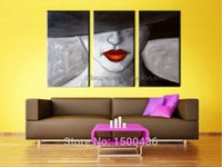 Cheap Hand Painted Sexy Canvas Woman Painting Abstract 3 Panel Modern Wall Picture Oil Art Canvas Decoration Home Set