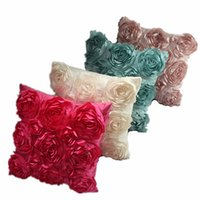 Wholesale 2016 New Fashion Flower Rose Wedding Home Supplies Bed Decorative Cushion Cover Solid Color Square Zipper Pillow Case JA5123