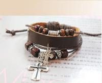 Cheap Wholesale-2015 Hot Sale Retro Alloy Decorations Wooden Beads Jesus Cross Redemption Adjustable Weave Leather Bracelets B38