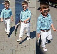 best belts pant - best selling new Direct Selling New Arrive Children Boys Plaid shirt white Pant belt Set Cloth Kids Clothing children cloth set