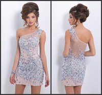 Wholesale HY One shoulder Beads Sheer Tulle Cocktail Dresses Short Open Back Sleeveless Sequins Sparkle Sheath Homecoming Formal Gown Hot Cheap