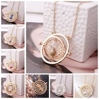 harry potter - gold hourglass harry potter time turner necklace hermione granger Rotating Spins harry potter hourglass necklace Statement Necklace in stock