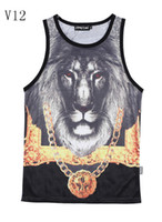 Wholesale Magic Hot design new made for men tank tops Golden Chain crown Lion d vest Grid Breathable absorbent active tanks V12 M XXL