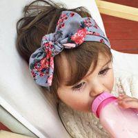 Wholesale Baby Kids Girl Infant Flower Bow Hairband Turban Knot Rabbit Headband Summer Style Headwear