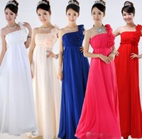 Cheap 2015 NEW bridesmaid wedding one shoulder evening pleated formal party empire long prom gown chiffon custom-made dress plus size under 50$